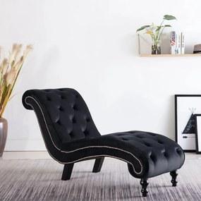 248611 vidaXL Chaise longue em veludo preto