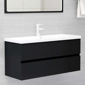804765 vidaXL Armário de lavatório 100x38,5x45 cm contraplacado preto