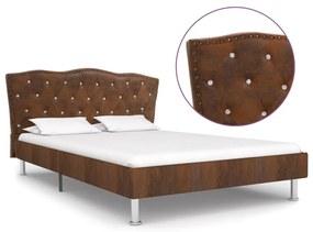 280543 vidaXL Estrutura de cama 120x200 cm camurça artificial castanho