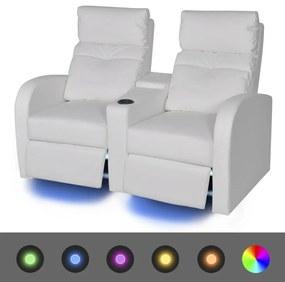 243595 vidaXL Poltrona reclinável LED 2 lugares, couro artificial, branco
