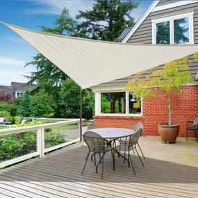 Outsunny Toldo Vela triangular 4x4x4 m para jardim varanda cor creme