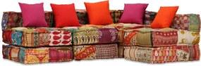 Sofá-cama modular de 4 lugares em retalhos