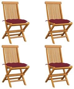 3062592 vidaXL Cadeiras jardim c/ almofadões vermelho tinto 4 pcs teca maciça
