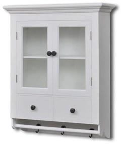 241374 vidaXL Armário de Parede para Cozinha, Branco, com Porta de Vidro