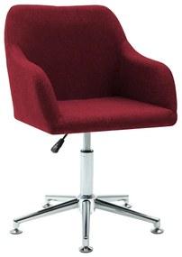 Cadeira de Escritório Giratória Tecido Vermelho Tinto