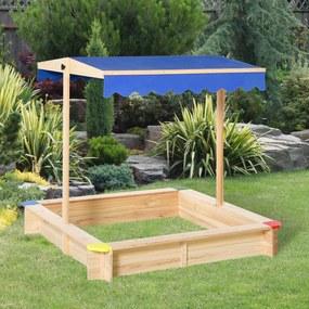 Outsunny Caixa de areia de madeira para crianças com telhado Toldo ajustável Espaçoso 120x120x120 cm para jardim Cor madeira natural