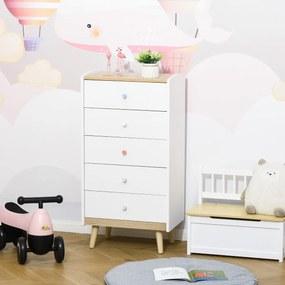 HOMCOM Cómoda Infantil de Madeira com 5 Gavetas para Crianças com Armazenamento para Brinquedos Roupa Livros 55x36x108cm Branco