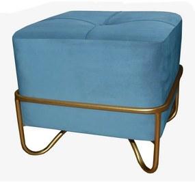 Banqueta Dkd Home Decor Azul Poliéster Espuma Metal Dourado Madeira Mdf (42 X 42 X 38 cm)