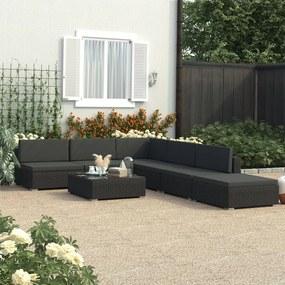 6 pcs conjunto lounge de jardim c/ almofadões vime PE preto