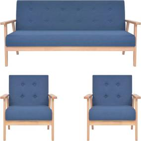3 pcs conjunto de sofás tecido azul