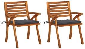 3060780 vidaXL Cadeiras de jantar jardim c/ almofadões 2 pcs acácia maciça