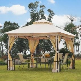 Outsunny Pérgola de jardim 3x3m com 4 cortinas laterais com zíper e telhado duplo com 8 furos de drenagem bege