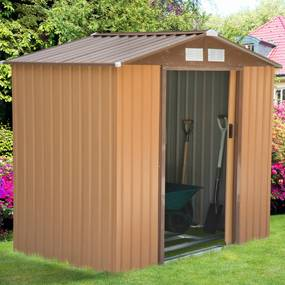Outsunny Galpão de jardim de aço com porta deslizante e ventilação para armazenamento de ferramentas 213x127x185 cm marrom
