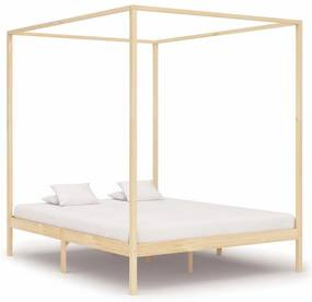 283255 vidaXL Estrutura de cama com toldo 180x200 cm pinho maciço