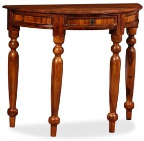 245157 vidaXL Mesa consola madeira sheesham maciça 90x40x76 cm meio circulo