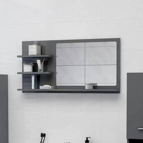 805023 vidaXL Espelho de casa de banho 90x10,5x45cm contrap. cinza brilhante