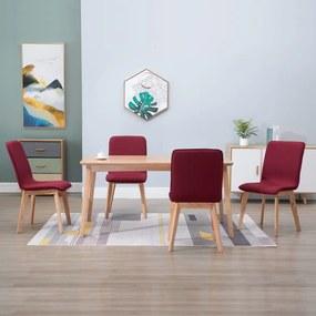248925 vidaXL Cadeiras de jantar 4 pcs tecido vermelho e carvalho maciço