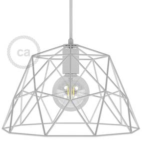 Dome XL naked cage metal Lampshade with E27 lamp holder - Branco