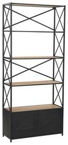 246426 vidaXL Estante em madeira de abeto maciça e aço 80x32,5x180 cm