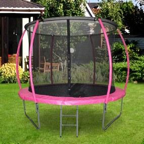 HOMCOM Trampolim ao ar livre para adultos e crianças 244cm de diâmetro Carga de 100kg Rose