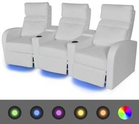 243597 vidaXL Poltrona reclinável LED 3 lugares, couro artificial, branco