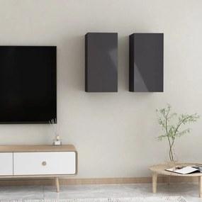 803343 vidaXL Móveis de TV 2 pcs 30,5x30x60 cm contraplacado cinzento brilhante