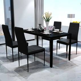 242986 vidaXL Conjunto mesa de jantar 5 pcs preto