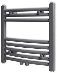 141896 vidaXL Aquecedor toalhas casa de banho curvo 480 x 480 mm cinzento