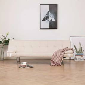 282185 vidaXL Sofá-cama com duas almofadas poliéster cor creme