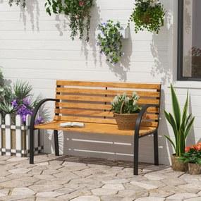 Outsunny Banco de jardim 2 lugares com encosto e apoios de braços Ripas de madeira e estrutura de aço Carga 230 kg 122x60x80 cm Cor natural e preto