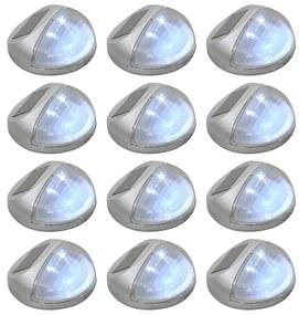 44473 vidaXL Candeeiro de parede solar LED exterior 12 pcs prateado redondo