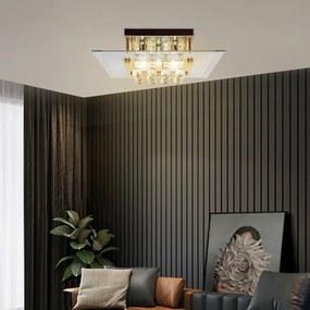 HOMCOM Lâmpada de teto de cristal K9 para lâmpadas G9 máx. 40W Lâmpada de cristal LED moderna para quarto Sala de estar Aço inoxidável 40x40x16 cm