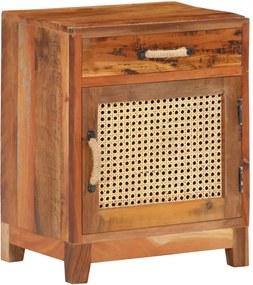 Mesa de cabeceira 40x30x50 cm madeira recuperada maciça