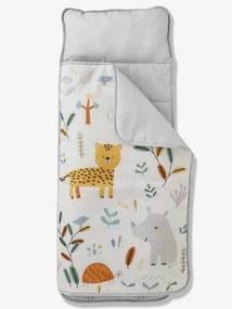 Saco-cama em poliéster, com almofada integrada, tema Jungle paradise branco claro liso com motivo