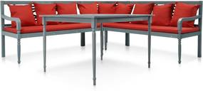 Conjunto de sofás de canto e mesa exterior 16 pcs acácia maciça