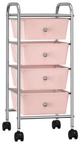 320400 vidaXL Carrinho de arrumação móvel com 4 gavetas plástico rosa