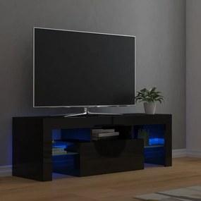 804353 vidaXL Móvel de TV com luzes LED 120x35x40 cm preto brilhante