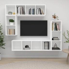 3079817 vidaXL 4 pcs conjunto de móveis de TV contraplacado branco