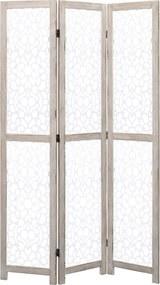 284195 vidaXL Biombo com 3 painéis 105x165 cm madeira maciça branco