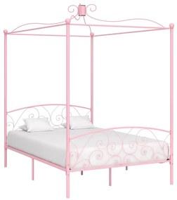 284488 vidaXL Estrutura de cama com dossel 120x200 cm metal cor-de-rosa