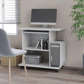 Secretária de computador 80x50x75 cm contraplacado branco
