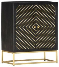 286516 vidaXL Aparador 60x30x75cm madeira de mangueira maciça preto e dourado
