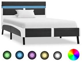280307 vidaXL Estrutura de cama c/ LED 90x200 cm couro artificial cinzento