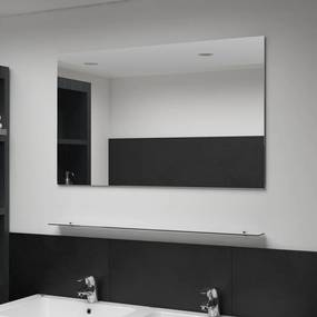 249443 vidaXL Espelho de parede c/ prateleira vidro temperado 100x60 cm