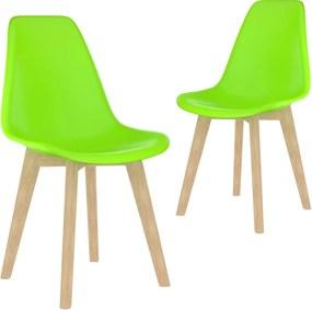 Cadeiras de jantar 2 pcs plástico verde