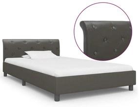 284883 vidaXL Estrutura de cama 100x200 cm couro artificial cinzento