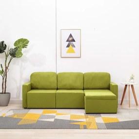 288788 vidaXL Sofá-cama modular de 3 lugares tecido verde