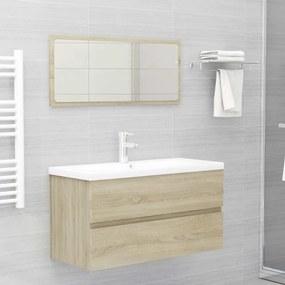 804893 vidaXL 2 pcs conj. móveis casa de banho contrapl. cor carvalho sonoma