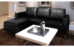 Sofá secional de 3 lugares couro artificial preto