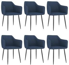 3068677 vidaXL Cadeiras de jantar 6 pcs tecido azul